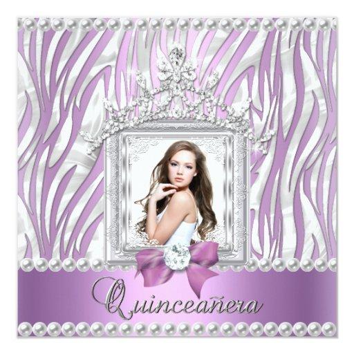 Quinceanera 15th Birthday Party Zebra Lilac Pearl 5.25x5.25 Square Paper Invitation Card