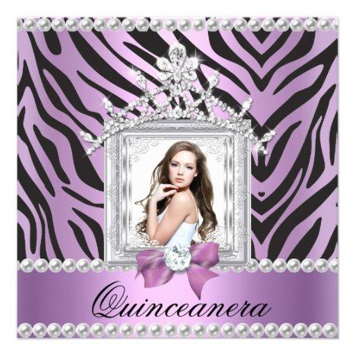 Quinceanera 15th Birthday Party Zebra Lilac Pearl Personalized Invitation