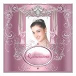 Quinceanera 15th Birthday Pink Silver Star Custom Invitations