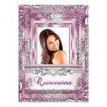 Quinceañera 15th Birthday Pink Silver Tiara Personalized Invitation