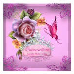 Quinceañera 15th Birthday PINK Tiara Butterfly Personalized Invitation