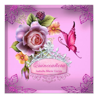 Quinceañera 15th Birthday PINK Tiara Butterfly 5.25x5.25 Square Paper Invitation Card