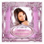 Quinceañera 15th Birthday Pink White Silver Tiara Invitations