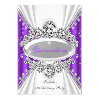 Quinceanera 15th Birthday Princess Purple Tiara 5x7 Paper Invitation Card