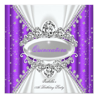 Quinceanera 15th Birthday Princess Purple Tiara Invitations
