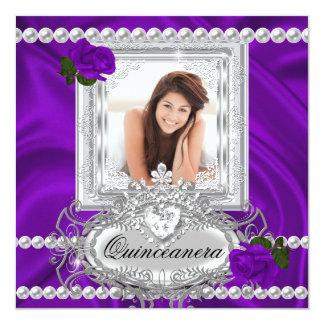 Quinceanera 15th Birthday Purple Rose White Card