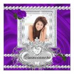 Quinceanera 15th Birthday Purple Rose White Invitations