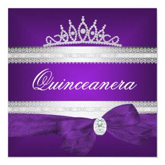 Quinceanera 15th Birthday Purple Silver Diamond Card