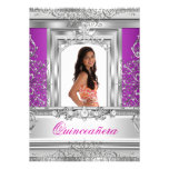 Quinceañera 15th Birthday Purple Silver Tiara Announcement