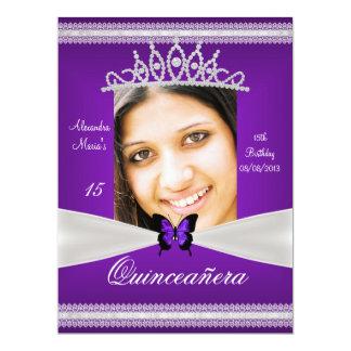 Quinceañera 15th Birthday Purple White Lace Photo Card