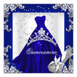 Quinceanera 15th Birthday Royal Blue Dress Gown 5.25x5.25 Square Paper Invitation Card