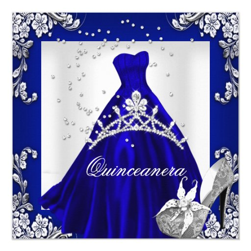 Quinceanera 15th Birthday Royal Blue Dress Gown Invitation ...