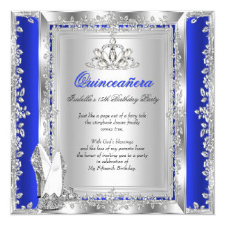 Quinceanera 15th Birthday Royal Blue Silver Shoes Card