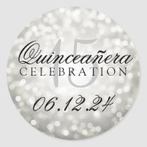 Quinceanera 15th Birthday Silver Bokeh Lights Classic Round Sticker