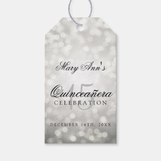 Quinceanera 15th Birthday Silver Bokeh Lights Gift Tags