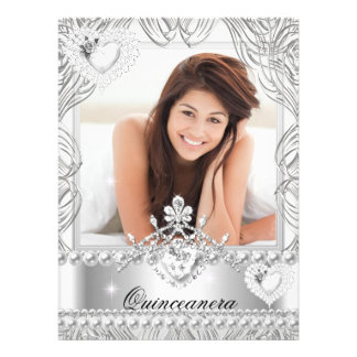 Quinceanera 15th Birthday Silver White Hearts 2 Personalized Invite