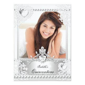Quinceanera 15th Birthday Silver White Hearts 3 Invite