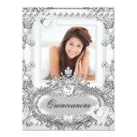 Quinceanera 15th Birthday Silver White Invitations