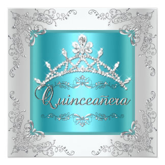 Quinceanera 15th Birthday Teal Blue Silver Tiara Personalized Invitation