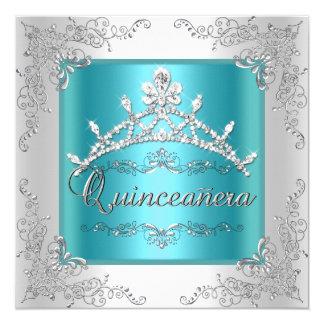 Quinceanera 15th Birthday Teal Blue Silver Tiara 5.25x5.25 Square Paper Invitation Card