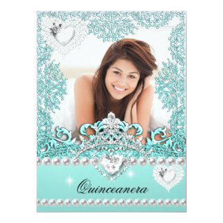 Quinceanera 15th Birthday Teal Blue Silver White Announcement