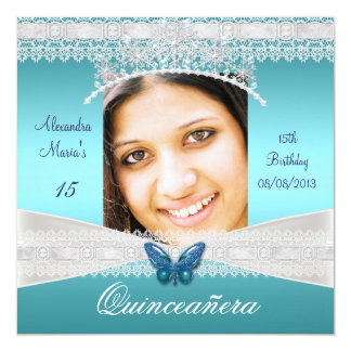 Quinceañera 15th Birthday Teal White Lace Photo Card