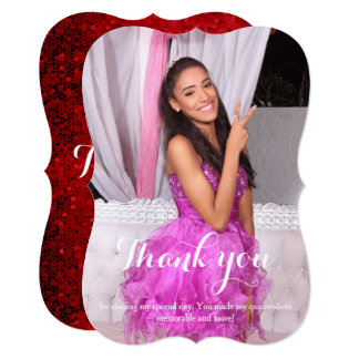Quinceañera 15th birthday Thank You red Card