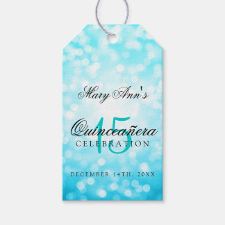 Quinceanera 15th Birthday Turquoise Bokeh Lights Gift Tags