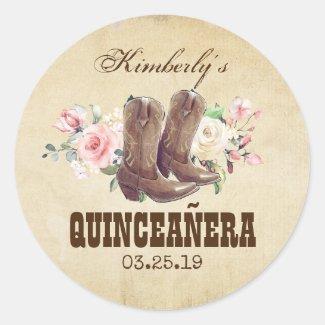 Quinceañera 15th Birthday Western Cowboy Boots Classic Round Sticker