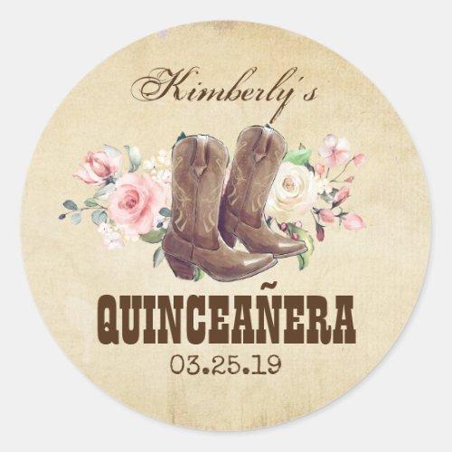 Quinceaera 15th Birthday Western Cowboy Boots Classic Round Sticker