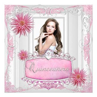 Quinceanera 15th Birthday White Pink Silver Dahlia Personalized Invitation