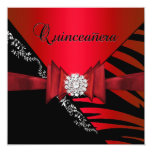 Quinceanera 15th Birthday Zebra Red Black SStripe Personalized Announcements