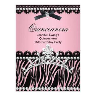 Quinceanera 15th Black Pink Zebra Tiara Card