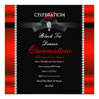Quinceanera 15th Black Tie Regal Red Black Party Card