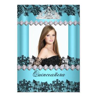 """Quinceanera 15th Blue Black White Lace Photo 5"""" X 7"""" Invitation Card"""