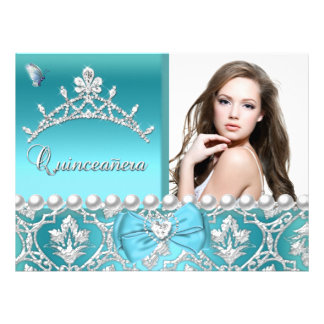 Quinceanera 15th Blue Damask Butterfly Add Photo Custom Invitations