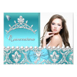 Quinceanera 15th Blue Damask Butterfly Add Photo 6.5x8.75 Paper Invitation Card