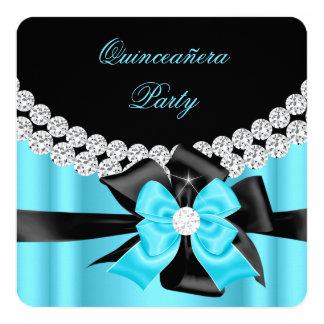 Quinceanera 15th Blue Silver Black Bow Diamonds 2 Card
