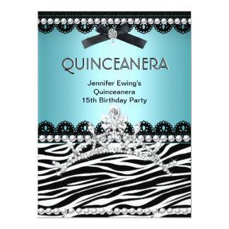 Quinceanera 15th Blue Teal Black Zebra Tiara Personalized Announcements