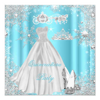 Quinceanera 15th Cinderella Blue Birthday Party Card