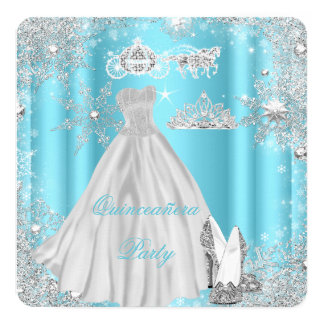 Quinceanera 15th Cinderella Blue Birthday Party 5.25x5.25 Square Paper Invitation Card