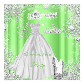 Quinceanera 15th Cinderella Lime Birthday Party Card