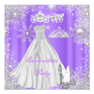 Quinceanera 15th Cinderella Purple Birthday Party Card