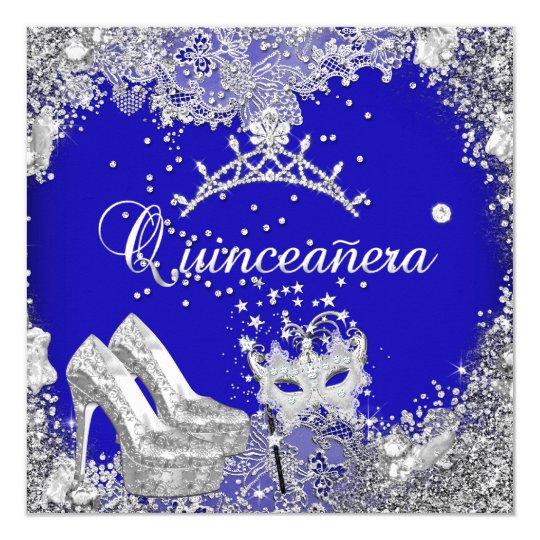 Quinceanera 15th Cobalt Blue Silver Mask Tiara Card