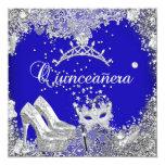 Quinceanera 15th Cobalt Blue Silver Mask Tiara Custom Invite
