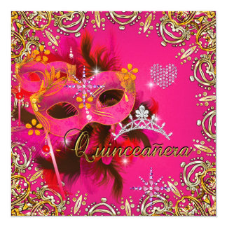 Quinceanera 15th Coral Pink Masquerade Party Gold Custom Invite