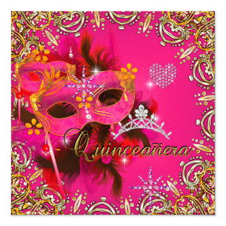 Quinceanera 15th Coral Pink Masquerade Party Gold 5.25x5.25 Square Paper Invitation Card