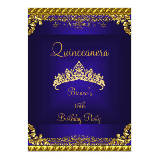 Quinceanera 15th Deep Blue Gold Diamond Tiara Card