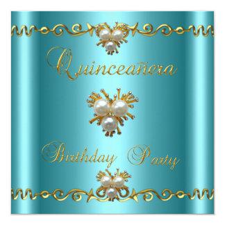 Quinceanera 15th Elegant Teal Gold Pearl Jewel Card