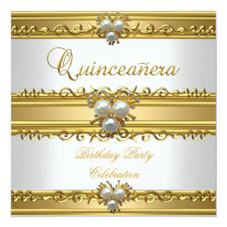 Quinceanera 15th Elegant White Gold Pearl Jewel Card